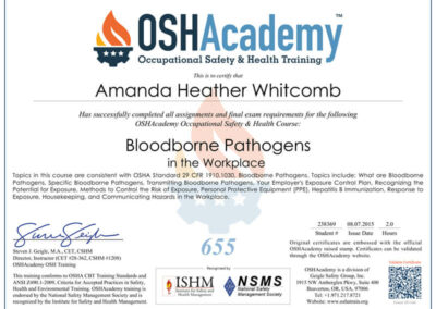 Occupational Safety & Health Training for Bloodborne Pathogens in the Workplace completed by Heather Whitcomb