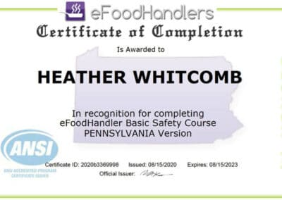 eFoodHandlers Certificate of Completion awarded to Heather Whitcomb