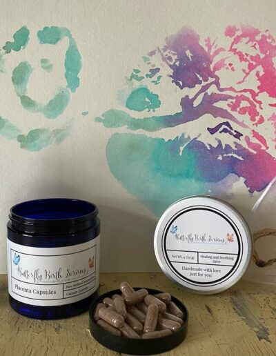 Butterfly Birth Services Placenta Encapsulation Package with placenta balm, placenta tincture, placenta capsules and a placenta print